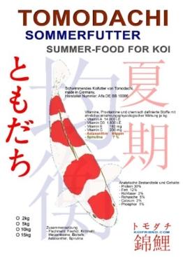 Sommerfutter für Koi jeden Alters mit Spirulina und Astax, Tomodachi Premium Koifutter für optimales Wachstum, einen tollen Körperbau und leuchtende Farben bei allen Koi, 6mm schwimmende Koipellets, 10kg - 1