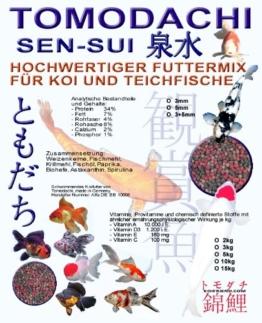 Koimix, Premium Koifuttermischung, 4 Color, Rot-Grün-Weiß-Braun, Teichfuttermix mit Spirulina, Astax, Paprika und Krillmehl, Tomodachi Sen-Sui Koifutter- und Teich-Mix, 15kg (5mm Pelletgröße) - 1
