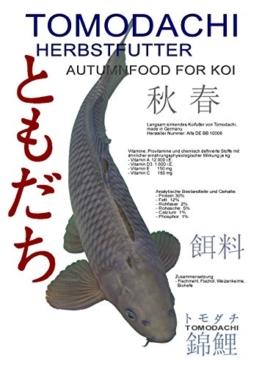 Herbstfutter für Koi , langsam sinkendes Koifutter für den Herbst, zur Vorbereitung auf den Winter, Tomodachi Autumn Food for Koi, 3kg im praktischen wiederverschließbaren Koifutter Eimer. - 1