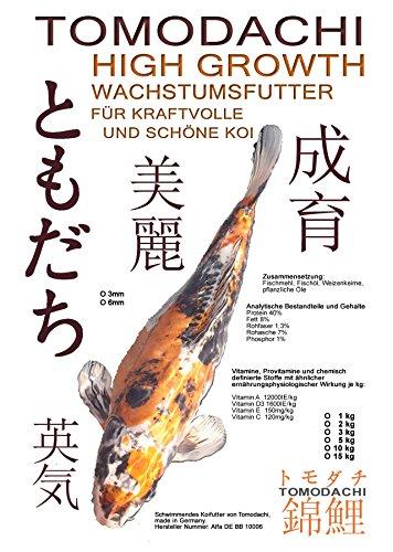 Koifutter, Wachstumsfutter Koi, Schwimmfutter für Koi, Tomodachi High Growth Wachstumsfutter 3mm Koipellets Kraftfutter für junge, aktive Koi, 5kg - 1
