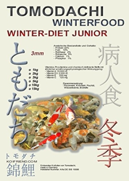 Sinkfutter für Koi im Winter, Tomodachi Winterfutter für den Koinachwuchs, schont die Kräfte der Koi bei Kälte, liefert schonend Energie, Winterfood Winter - Diet JUNIOR, 3mm sinkende Koipellets, 5kg Sack - 1