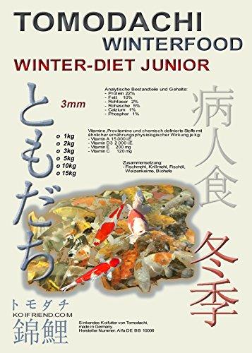 Sinkfutter für Koi im Winter, Tomodachi Winterfutter für den Koinachwuchs, schont die Kräfte der Koi bei Kälte, liefert schonend Energie, Winterfood Winter - Diet JUNIOR, 3mm sinkende Koipellets, 5kg Sack - 1