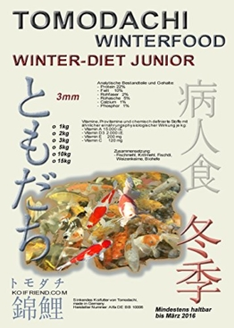 Sinkfutter für Koi im Winter, Tomodachi Winterfutter schont die Kräfte der Koi bei Kälte, liefert schonend Energie, Winterfood Winter-Diet oder Winter-Diet JUNIOR, wahlweise 3mm oder 5mm sinkende Koipellets, 1kg Beutel (3mm) - 1