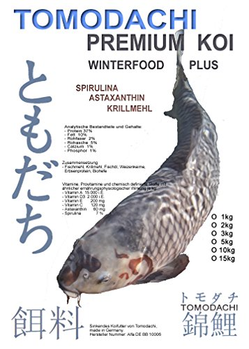 Winterfutter für Koi, langsam sinkendes Koi-Energiefutter mit Astaxanthin und Spirulina, arktischem Fischmehl und Fischöl, für eine optimale Futterverwertung bei geringer Wasserbelastung, Energie für Koi im Winter, Tomodachi Winterfood Plus, 5mm 3kg Eimer - 1