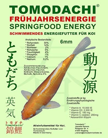 Tomodachi Frühjahrsfutter, Koifutter, Energiefutter Koi, Schwimmfutter mit Spirulina + Astax Farbschutz, arktischem Fischmehl und Fischöl, sehr energiereich, hochverdaulich auch bei Kälte, 6mm 2kg - 1