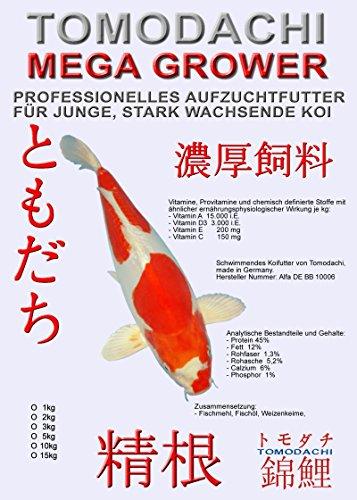 Hochenergiereiches Koifutter für starkes Wachstum bei jungen Koi, Aufzuchtfutter für Koi, Tomodachi Mega Grower professionelles Aufzuchtfutter für den Koinachwuchs 5kg, 2mm Koipellets - 1