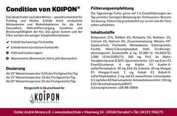KOIPON Koi-Futter für Frühjahr & Herbst, schwimmend, 3mm, 3kg - für Gesundheit, Nährstoffversorgung, Kondition & Belastungsfähigkeit - auch für Gold-Fische - 2