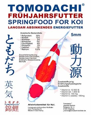 Tomodachi Koifutter, Frühjahrsfutter, Energiefutter für Koi, langsam sinkend mit arktischem Fischmehl, Fischöl und Krillmehl, sehr energiereich, gut verdaulich bei Kälte, Frühjahrsfutter 5mm 15kg - 1