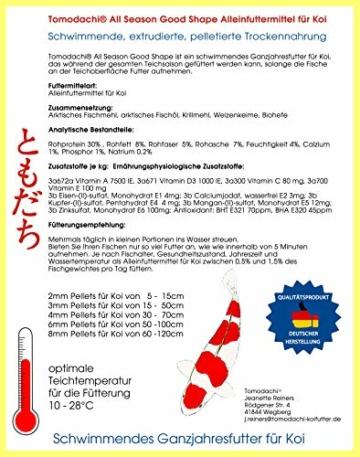 Tomodachi Koifutter, Ganzjahresfutter, Schwimmfutter Koi, 8mm Pelletgröße, All Season KoiSchwimmfutter 8mm 5kg - 2