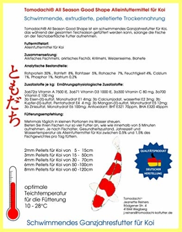 Tomodachi Koifutter, Schwimmfutter Koi, All Season Good Shape Ganzjahresfutter für Koi 5kg, 3mm Koipellets - 7
