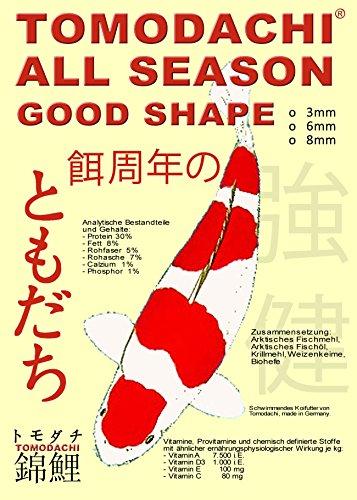 Tomodachi Koifutter, Schwimmfutter Koi, All Season Good Shape Ganzjahresfutter für Koi 5kg, 3mm Koipellets - 1