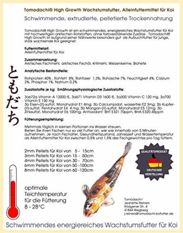 Koifutter, Wachstumsfutter Koi, Schwimmfutter für Koi, sehr energiereich, hochverdaulich, gute Futterverwertung, Koi – Kraftfutter, Tomodachi High Growth Premium Koi - Aufzuchtfutter 10kg 3mm - 2
