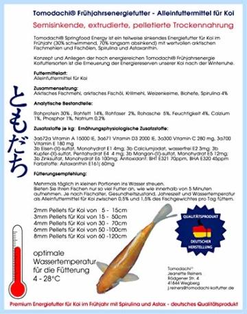 Tomodachi Koifutter, Frühjahrsfutter, Energiefutter Koi, teilsinkend mit Spirulina Farbschutz + Immunschutz, arktisches Fischmehl u. Fischöl, sehr energiereich, hochverdaulich auch bei Kälte, 6mm 1kg - 2