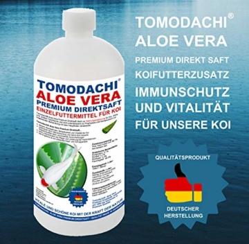 Aloe Vera für Koi, Koifutterzusatz, Aloevera Premium Direktsaft, gut für Immunsystem, Stoffwechsel, Verdauung, bessere Futterverwertung, geringere Wasserbelastung, Wachstum und Vitalität der Koi, 1L - 3