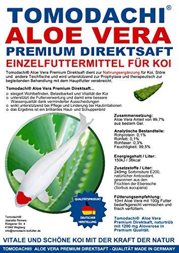 Aloe Vera für Koi, Koifutterzusatz, Aloevera Premium Direktsaft, gut für Immunsystem, Stoffwechsel, Verdauung, bessere Futterverwertung, geringere Wasserbelastung, Wachstum und Vitalität der Koi, 1L - 4