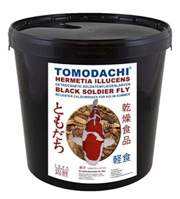 Tomodachi Koifutter, Black Soldier Fly Larven getrocknet, Hermetia Illucens, Soldatenfliegenlarven, Koilsnack, reich an Calzium und natürlicher Laurinsäure, ideal als Sommerfutter für Koi 3L Eimer - 1
