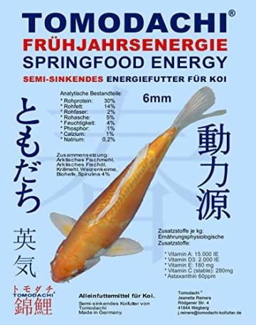 Tomodachi Koifutter, Energiefutter, Frühjahrsfutter Koi, teilsinkendes Spirulinafutter mit arktischem Fischmehl u. Fischöl, sehr energiereich, hochverdaulich auch niedrigen Temperaturen, 6mm 5kg - 1