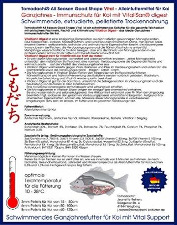 Tomodachi Koifutter, Vitalfutter für Koi mit Monoglyceriden für Koigesundheit, Immunschutz, Stoffwechsel, Verdauung, überdurchschnittliche Futterverwertung, All Season Vital Koischwimmfutter 6mm 5kg - 8