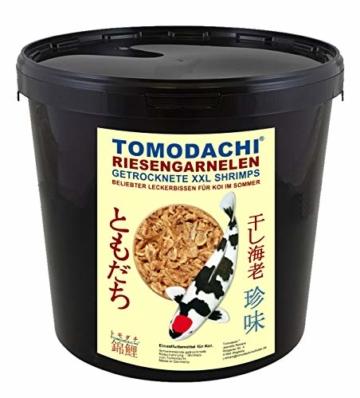 Tomodachi Sommerfutter für Koi, Garnelen, Koi Gambas, Riesen Shrimps, getrocknete große Süßwassergarnelen, Koifutter Naturnahrung, gesunder, Koisnack für die Handfütterung der Koi im Sommer 3L Eimer - 1