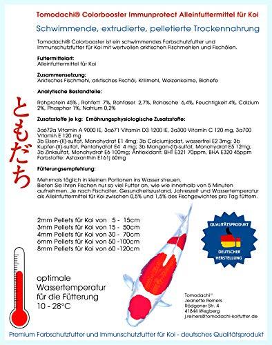 Tomodachi Koifutter energiereich, Wachstumsfutter, Farbschutz + Immunschutz, arktisches Fischmehl + Fischöl, top Futterverwertung, geringe Wasserbelastung, Colorbooster Koischwimmfutter 2kg 6mm - 2