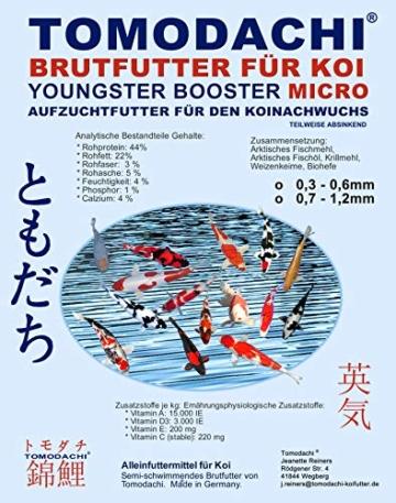 Koifutter, Brutfutter für Koi, Jungkoifutter, Aufzuchtfutter Tosai, Koibrutfutter Tomodachi Youngster-Booster MICRO, Energiefutter für den Koinachwuchs, 0,3mm - 0,6mm Pelletgröße, 2kg Beutel - 1