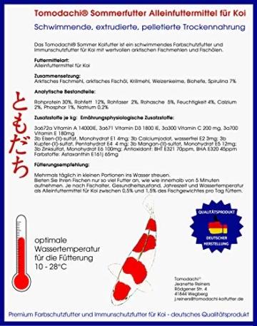 Koifutter Spirulina und Astax, Sommerfutter energiereich, hochverdaulich, Premium Koischwimmfutter , Mega Wachstum, toller Körper, brilliante Farben der Koi, wertvolle arktische Rohstoffe 6mm 2kg - 2