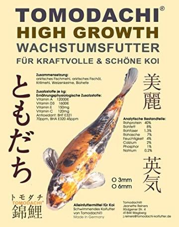 Koifutter, Wachstumsfutter, Energiefutter Koi, Grower, Aufzuchtfutter für Jungkoi, Tomodachi High Growth, Schwimmfutter Koi, professionelles Wachstumsfutter, Tosai Koifutter 2kg 6mm Koipellets - 1