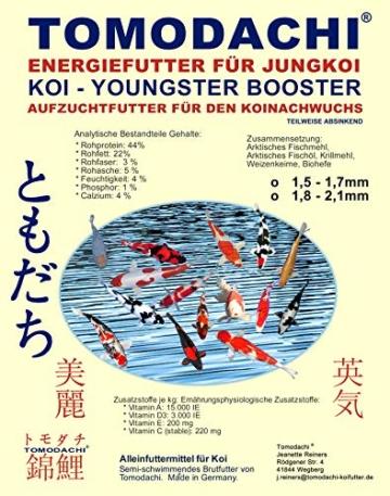 Koifutter, Wachstumsfutter Koi, Jungkoifutter, Aufzuchtfutter Tosai, Koibrutfutter Tomodachi Youngster-Booster Energiefutter für den Koinachwuchs, 1,5mm - 1,7mm 2kg - 1