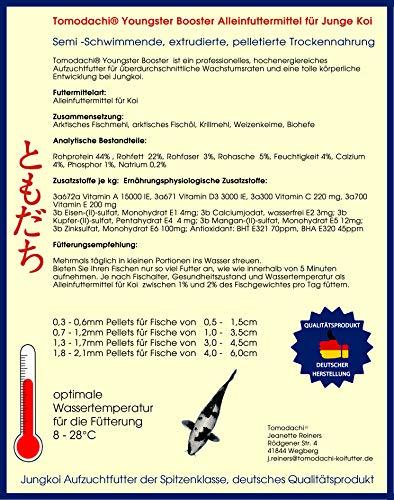 Koifutter, Wachstumsfutter Koi, Jungkoifutter, Aufzuchtfutter Tosai, Koibrutfutter Tomodachi Youngster-Booster Energiefutter für den Koinachwuchs, 1,5mm - 1,7mm 2kg - 5
