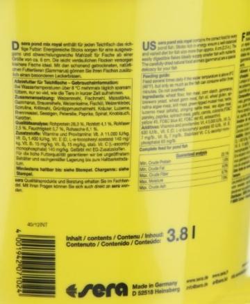 sera 07102 pond mix royal 3800 ml - Futtermischung aus Flocken, Sticks und mit 7 % Gammarus als Leckerbissen für alle Teichfische - 11