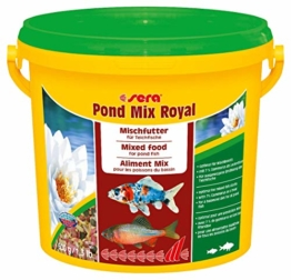 sera 07102 pond mix royal 3800 ml - Futtermischung aus Flocken, Sticks und mit 7 % Gammarus als Leckerbissen für alle Teichfische - 1
