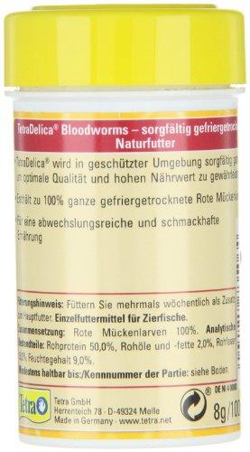 TetraDelica Bloodworms, Naturfutter für Zierfische, enthält zu 100% gefriergetrocknete rote Mückenlarven, 100 ml Dose - 4