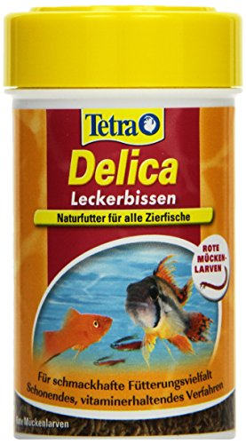 TetraDelica Bloodworms, Naturfutter für Zierfische, enthält zu 100% gefriergetrocknete rote Mückenlarven, 100 ml Dose - 1