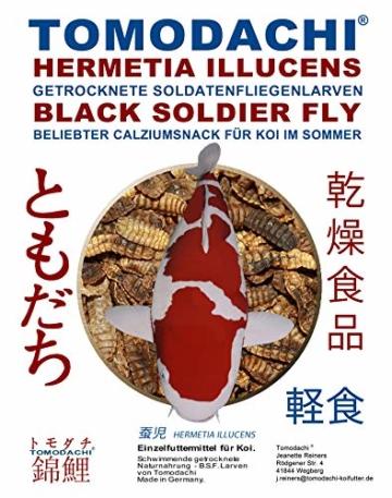 Tomodachi Koifutter, Black Soldier Fly Larven getrocknet, Hermetia Illucens, Soldatenfliegenlarven, Koilsnack, reich an Calzium und natürlicher Laurinsäure, ideal als Sommerfutter für Koi 1L Beutel - 1