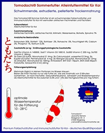 Tomodachi Koifutter für den Sommer mit Spirulina und Astax, Energiefutter, überdurchschnittliches Wachstum, toller Körperbau, brilliante Farben Premium Koischwimmfutter der Spitzenklasse 6mm 5kg - 7