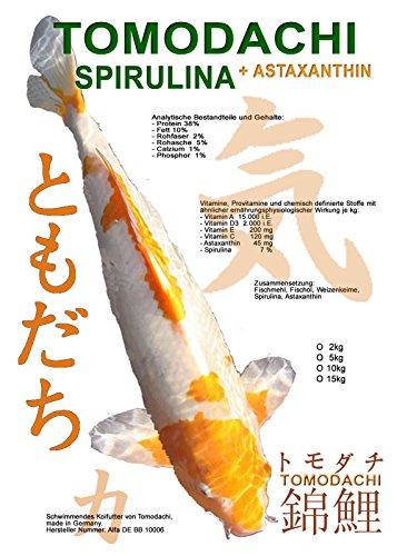 Tomodachi Koifutter, Spirulinafutter für Koi, Premium Schwimmfutter, Spirulina + Astaxanthin 5kg, 6mm Koipellets - 1