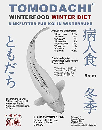 Tomodachi Koifutter, Winterfutter für Koi, sinkende Koipellets, kräfteschonend, Sinkfutter, Energiefutter Koi, arktische Rohstoffe, hochverdaulich bei Kälte, Koisinkfutter Winter Diet 3kg Eimer 5mm - 7
