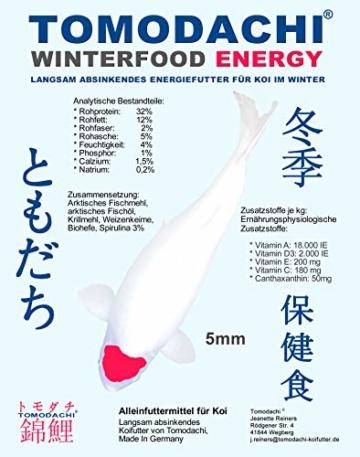 Koifutter, Winterfutter für Koi, langsam sinkendes Energiefutter für Koi mit Spirulina, arktischem Fischmehl u. Fischöl, optimiert für den Winter, Sinkfutter Koi, Tomodachi Winterfood Energy 5mm 1kg - 1