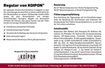 KOIPON Koi-Futter Regular für Frühling Sommer Spätsommer, 3mm, 1,75 kg - Hochwertiges Schwimmfutter für Starkes Wachstum, Farbverstärkung & gesunde Fische - auch für Goldfische - 3