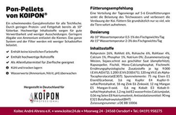 KOIPON Pon-Pellets Ganzjahresfutter 3 mm schwimmend in 1,75 kg - hochwertiges Futter für ganzjährige Fütterung zur Entlastung der Kiemen für alle Teichfische Zierfische wie Koi Karpfen Stör - 3