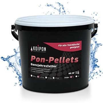 KOIPON Pon-Pellets Ganzjahresfutter 3 mm schwimmend in 1,75 kg - hochwertiges Futter für ganzjährige Fütterung zur Entlastung der Kiemen für alle Teichfische Zierfische wie Koi Karpfen Stör - 1