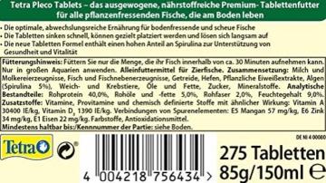 Tetra Pleco Tablets (Grünfutter-Tabletten mit einem hohen Anteil an Spirulina-Algen, Hauptfutter für alle pflanzenfressenden Bodenfische und scheuen Zierfische), 275 Tabletten Dose - 6