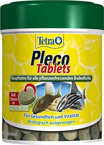 Tetra Pleco Tablets (Grünfutter-Tabletten mit einem hohen Anteil an Spirulina-Algen, Hauptfutter für alle pflanzenfressenden Bodenfische und scheuen Zierfische), 275 Tabletten Dose - 1