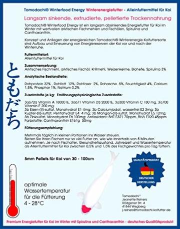 Tomodachi Koifutter, Winterfutter Koi mit Spirulina, langsam sinkendes Energiefutter für Koi im Winter, arktische Rohstoffe, hochverdaulich bei Kälte, Sinkfutter für Koi, Winterfood Energy 5mm 1kg - 2