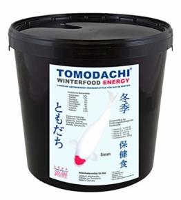 Koifutter, Winterfutter für Koi, langsam sinkend mit Spirulina, Tomodachi Energie - Winterfutter schont die Kräfte der Koi bei Kälte, liefert Energie für die kalte Jahrezeit, Winterfood Energy 5mm Koipellets, 3kg Eimer - 1