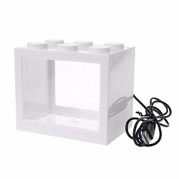 LANDUM Aquarium Kampf Zylinder USB Mini Aquarium Mit Lampe Licht - Weiß - 1
