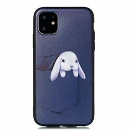 Miagon für iPhone 11 (6.1 Zoll) Zurück Hülle,Tasche Hase Muster Gedruckt Entwurf Plastik Weich Bumper Flexibel Schützend HandyHülle - 1