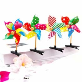 Qiman 1 Stück Kind Mädchen Nette 3D Windmühle Mini Side Hair Clip Bunte Regenbogen Entenschnabel Haarnadel Kunststoff Süße Geburtstagsfeier Geschenk Barrettes Zufällige Farbe - 1