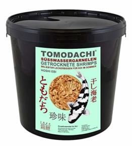 Tomodachi Garnelen, Koifutter, Naturfutter, Koisnack für den Sommer, getrocknete Süßwassergarnelen, Shrimps, Gambas für die Handfütterung der Koi, gesunde, leckere Koibelohnung handzahme Koi 5L Eimer - 1