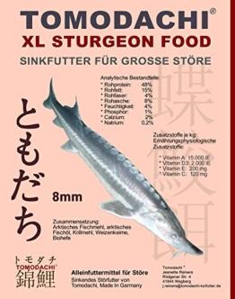 Tomodachi Störfutter groß, Energiefutter Stör perfekt für die ganzjährige Störfütterung, Störsinkfutter hochverdaulich, arktische Rohstoffe, geringe Wasserbelastung, Premium Stör Kraftfutter 8mm 15kg - 1